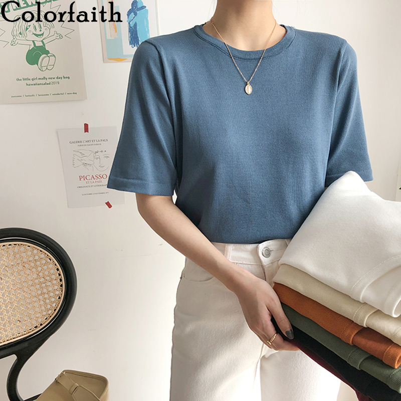 Colorfaith New 2020 Women Summer T-Shirts Solid Multi Colors Bottoming Casual Korean Minimalist Style Soft Knitted Tops T6216