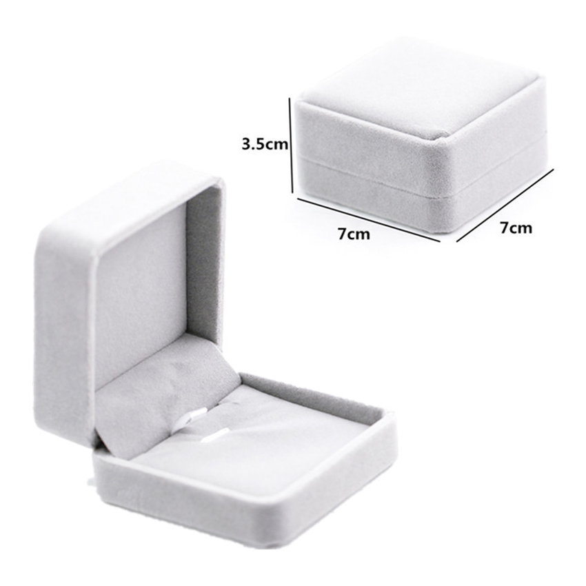 Exquisite Jewelry Box Suede Velvet Ring Earring Necklace Display Packaging Box Small Gray Gift Box