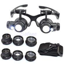 Lupa de reloj para reparación de joyas, lente LED de doble ojo, 10X 15X 20X 25X