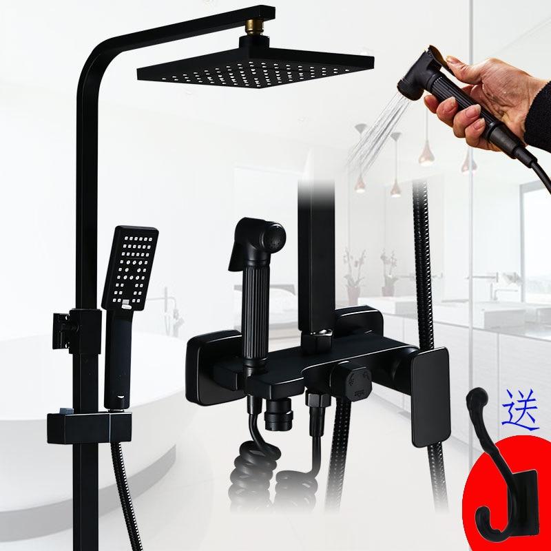 Ultimate DealËManufacturers Direct Selling Black Shower Head Set Household Copper Mixing Valve Multi-functional Supercharge Nozzle Shower