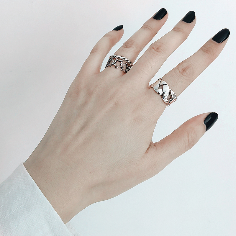 Bohemian Ethnic Silver Color Big Cross Chain Rings for Women Bridal Wedding Vintage Open Finger Rings Christmas Gifts 4