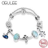 Luxury Brand Women Bracelet 925 Sterling Silver Llife Tree Murano Beads Charm Pendant Bracelet & Bangles DIY Jewelry Making Gift