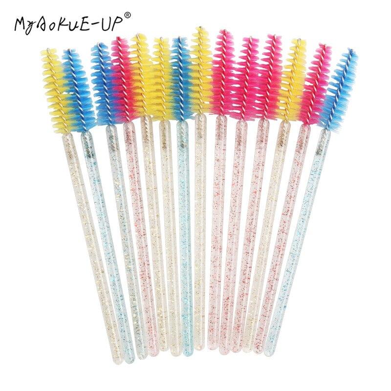 50 PCS Disposable Eyelash Extension Mascara Wand Applicator Diamond Handle Eye Lashes makeup Brushes Set Cosmetic tools
