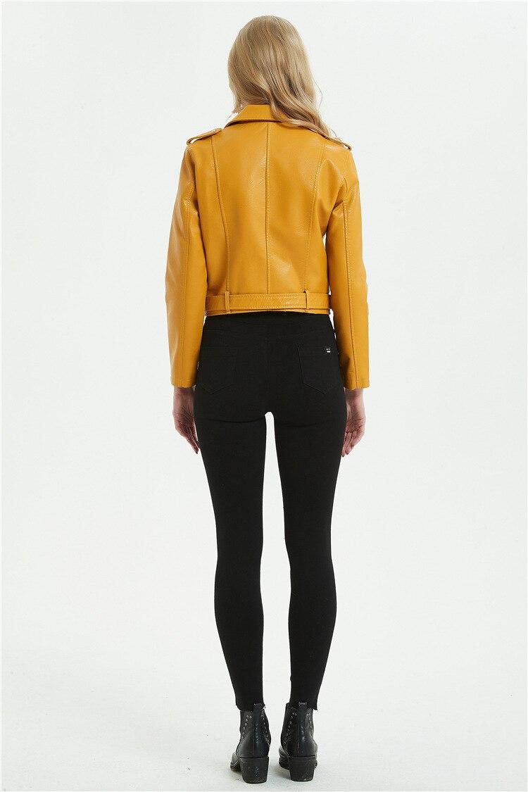 de couro das senhoras moda motociclista zíper casaco roupas