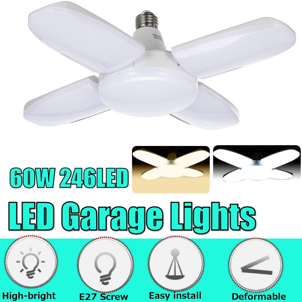 E27 LED Bulb Foldable Fan Blade Bulb  60W 246pcs LED Lamp Super Bright White 6500K For Indoor Home Ceiling Light