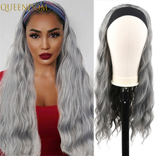 Grey Body Wave Headband Wig Female 20inch Long Water Wave Red Wigs for Black Women Synthetic Wavy Headwraps Wig Perruque Cosplay
