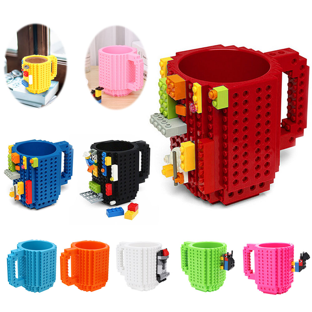 350ml Creative Coffee Mug Travel Cup Kids Adult Cutlery Lego Mug Drink Mixing Cup Dinnerware Set for Child