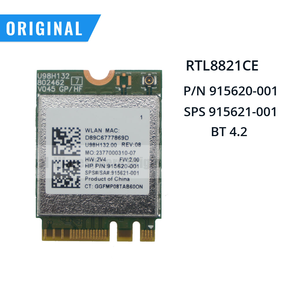 New Original RTL8821CE 802.11AC 1X1 Wi-Fi+BT 4.2 Combo Adapter Card For HP ProBook 450 G5 915620-001 915621-001