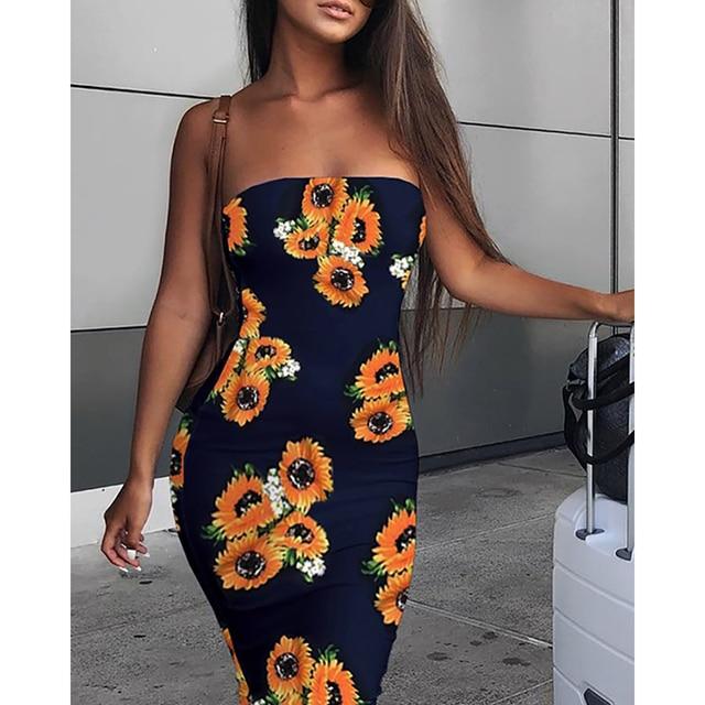 Long Tight Off-the-shoulder Sunflower Dress 4