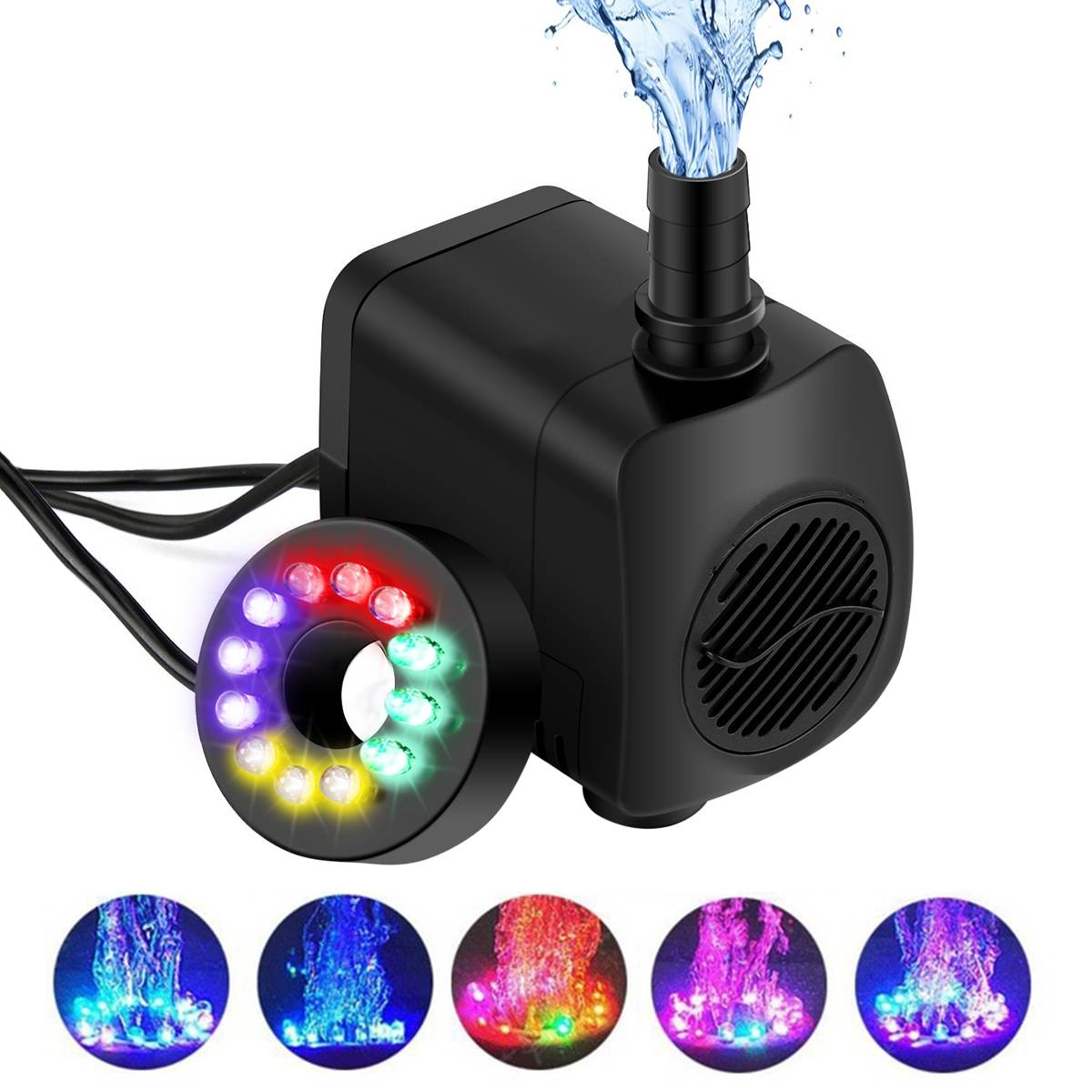 15W 800L/H LED Light Household Ultra-Quiet Submersible Water Fountain Pump Filter Fish Pond Aquarium Water Pump Tank Fountain