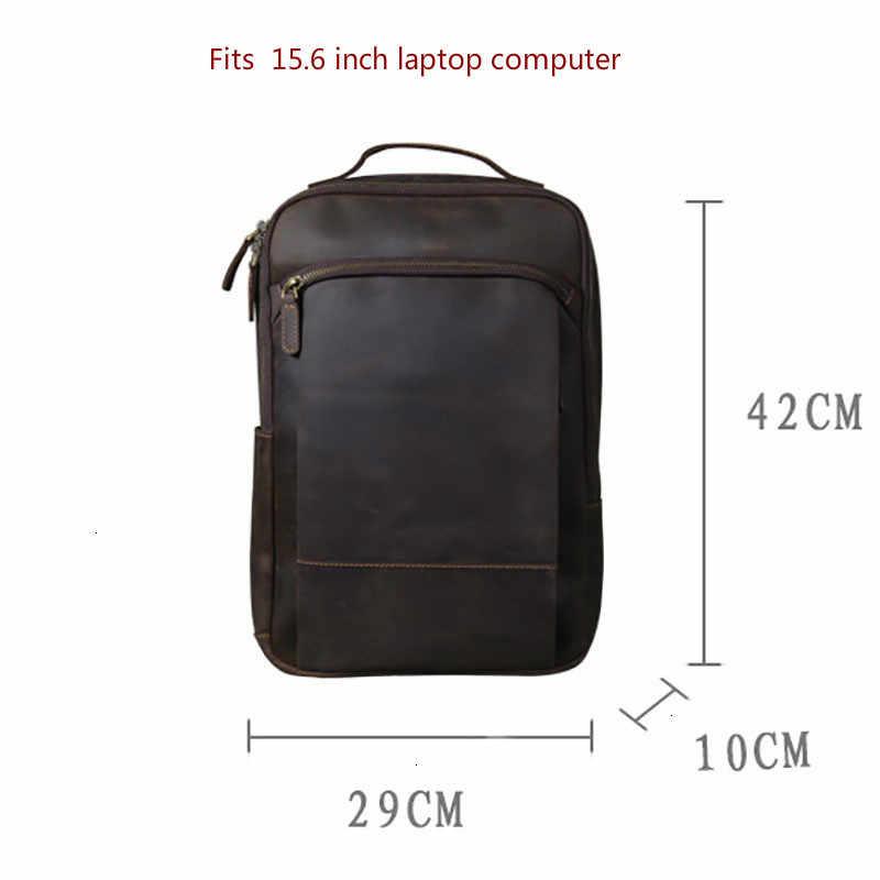 Mannen Lederen Tas Vintage Rugzak Schooltassen Voor Tiener Jongens Bagpack Originele Handgemaakte Koeienhuid Rugzakken Voor Macbook Pro 15