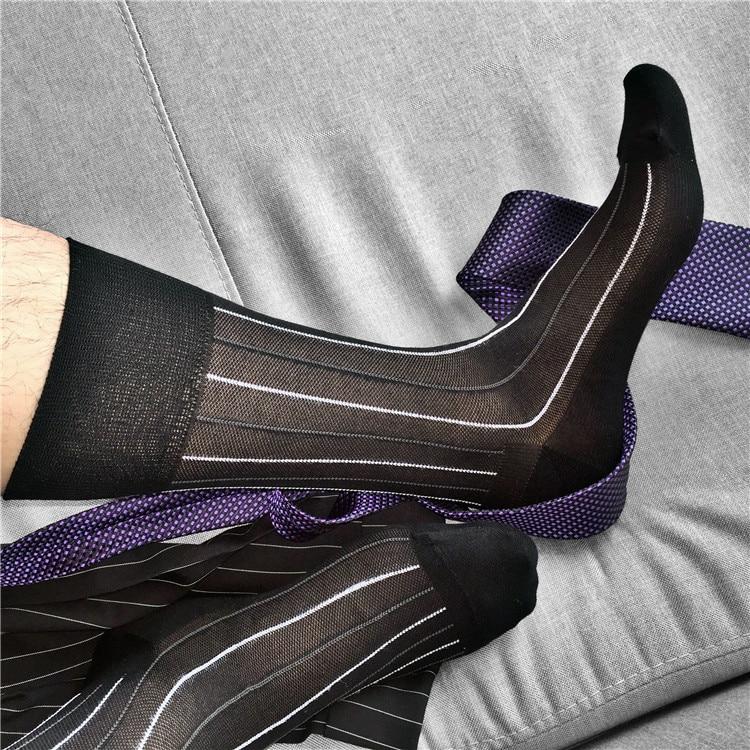Tube Socks Men's Formal Dress Socks Business Men Streetwear Dress Socks Fashion Gift For Men Black Male Suit Socks Stripe Socks