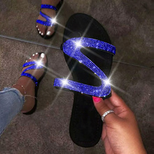 New Flat Sandals Rhinestone Women Sandals Bling Sho