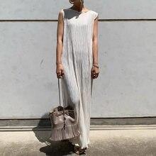 Moda plissada sem mangas das mulheres vestido de verão 2020 estilo coreano senhora vestidos maxi longos robe em linha reta femme simples corte