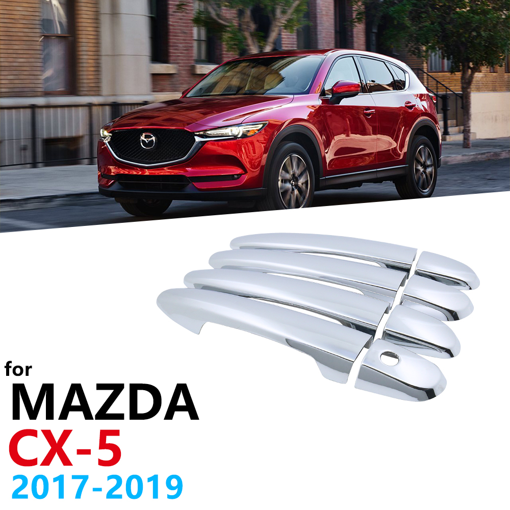 Chrome Handles Cover for <font><b>Mazda</b></font> <font><b>CX</b></font>-5 CX5 <font><b>CX</b></font> 5 2017 2018 2019 Catch Luxurious Car Cap Handle Exterior Auto <font><b>Accessories</b></font> Stickers image