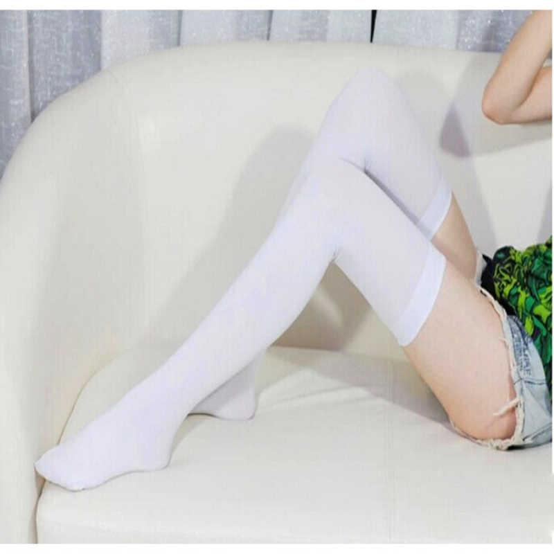 ถุงเท้ายาวสบายๆผ้าฝ้ายถุงน่องต้นขาสูงกว่าเข่าอะคริลิคสูงถุงเท้าหญิงหญิงเข่ายาวถุงเท้า Gaiters ของขวัญสีดำ