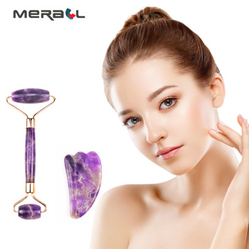 цена на Amethyst Face Roller Scraping Tool Set Facial Massage Natural Stone Jade Roller Slimming beauty Anti Wrinkle Cellulite Face Lift