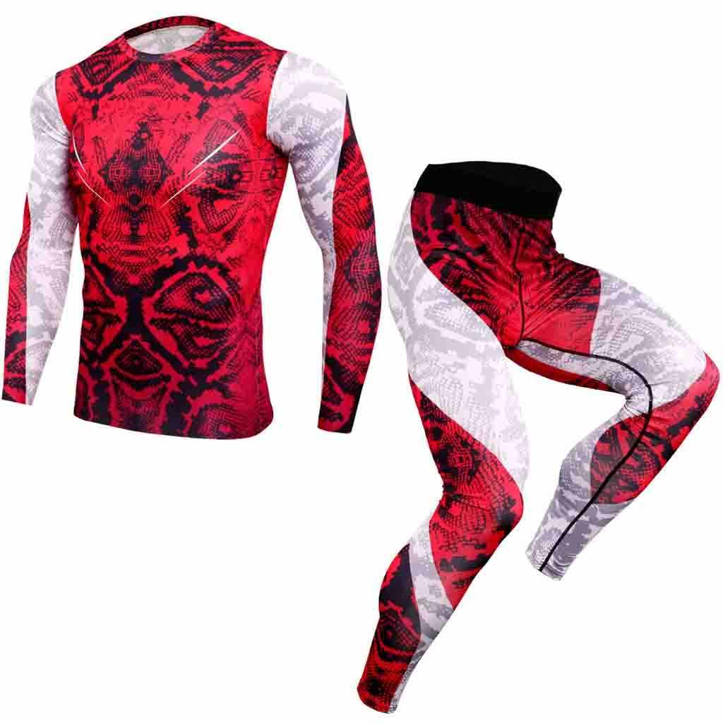 Hot Compressie Trainingspak Fitness Strakke Sport Set T-shirt Legging Mannen Sportswear Gym Running Pak ropa hombre 2019 9.2