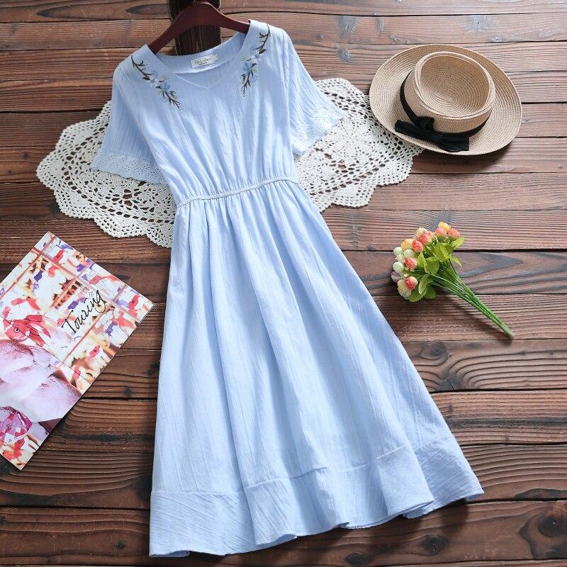 Kawaii Summer Cotton V Neck Dress 13