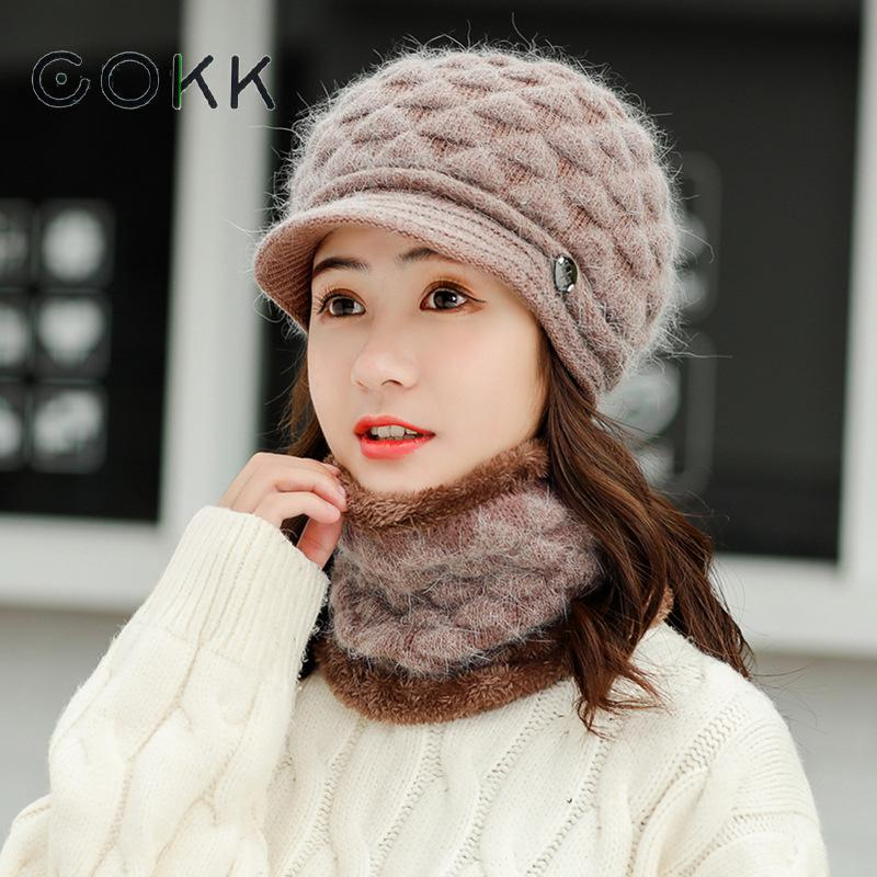 COKK Hat And Scarf Woman Velvet Collars Thickening Set Winter Beret Hats For Women Ladies Warm Ear Protect Rabbit Fur Knitted