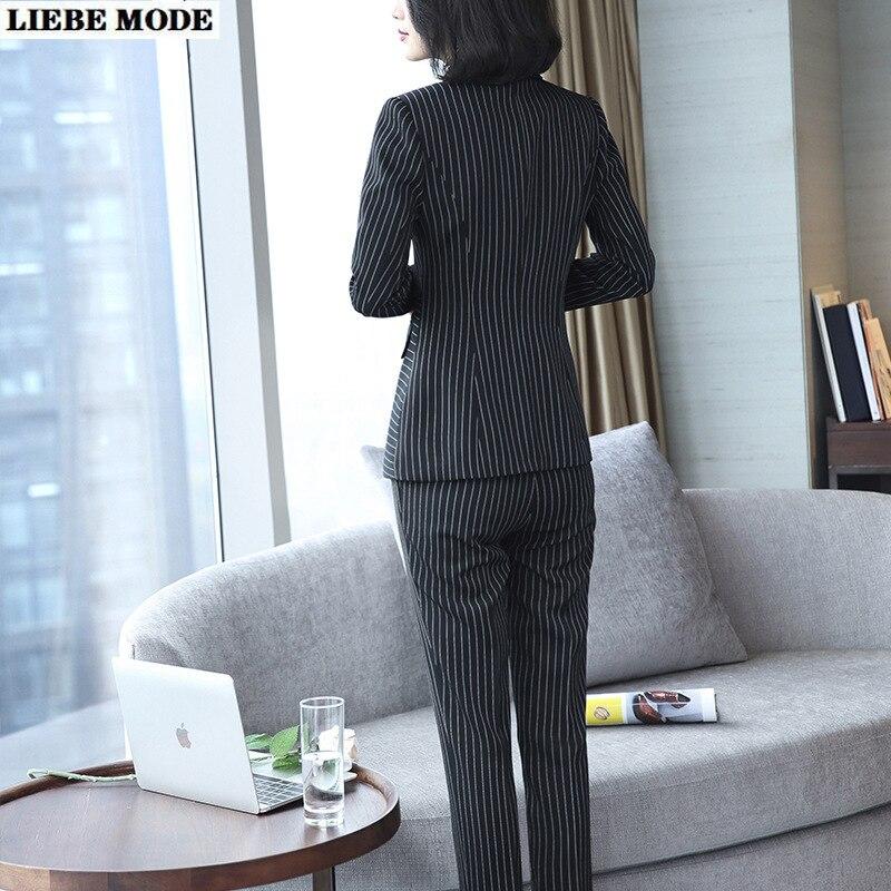 Elegant Striped Office Suits for Women Two Piece Pant Suit Korean Ladies Black Blue Pants Suits Office Work Blazer and Trouser
