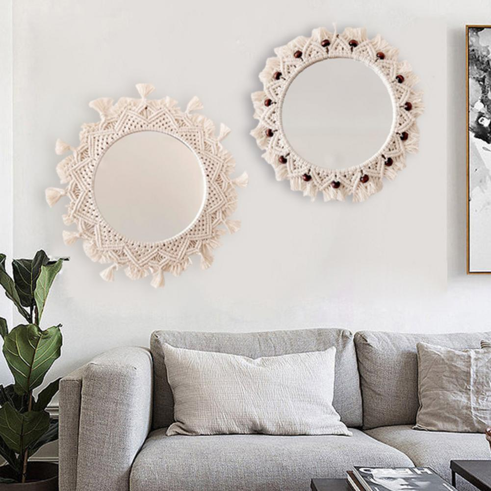 Redondo macrame espelho de parede boho pendurado