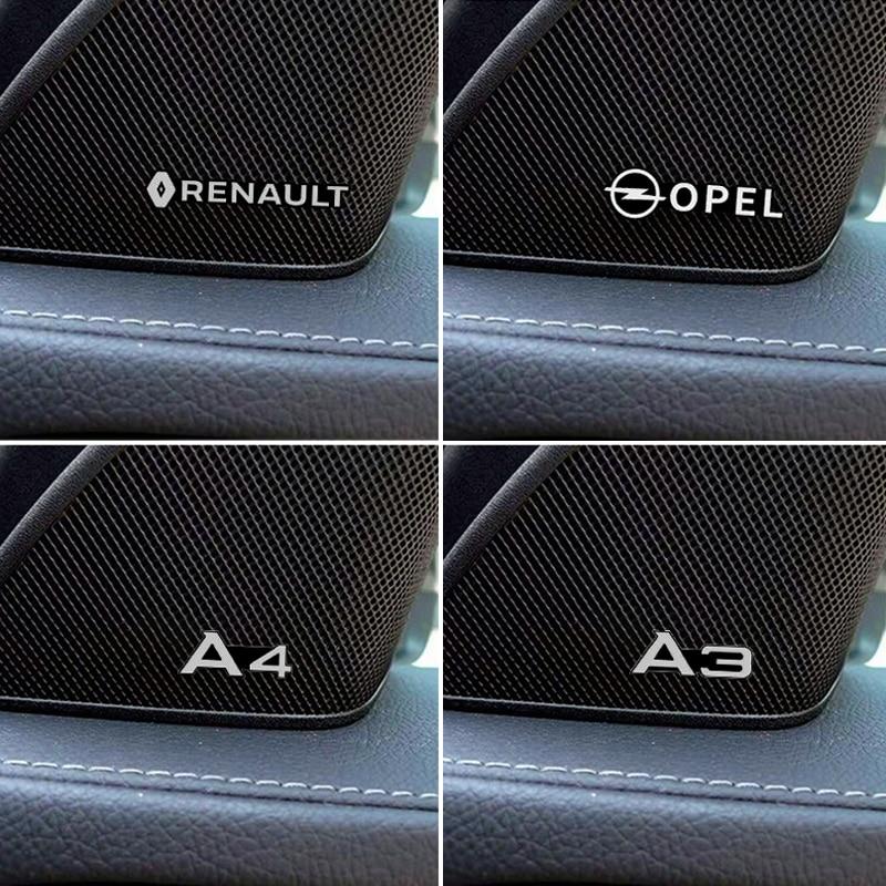 4 шт., алюминиевые 3d-наклейки-эмблемы для динамиков Audi A3 A4 A6 renault opel
