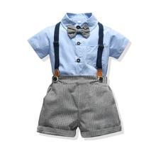 Conjunto de ropa para bebé y niño, novedad de verano, camisa azul, pantalones cortos grises para cumpleaños de bebé, niño pequeño traje para 2020