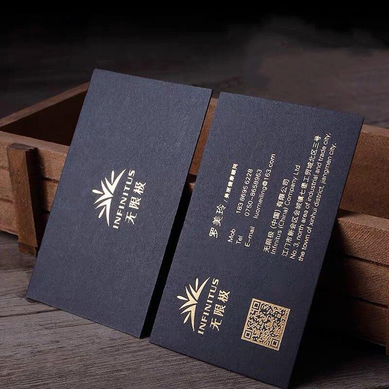 Business Card Custom Printing Postcard Black Gold Foil Letterpress Stamping Logo Both Side Paper Visiting Card Crystal UV 200pcs
