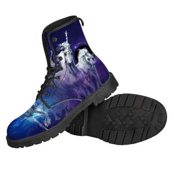 2019 New Arrival mężczyźni buty z prawdziwej skóry jednorożec wzór buty męskie dla dorosłych buty wodoodporne męskie buty kobiety chłopcy zimowe buty gorąca sprzedaż Lady moda przyjaciele drop Shipping niestandardowa swój wizerunek w wysokie buty tanie i dobre opinie noisydesigns Podstawowe Pasuje prawda na wymiar weź swój normalny rozmiar Oddychająca Wodoodporna Zima Tkanina bawełniana