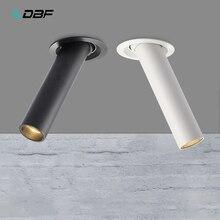 שחור/לבן ארוך צינור תקרה שקוע LED ספוט מנורת זווית Rotatable תקרת אור 12W למטבח חדר שינה תמונה טלוויזיה רקע