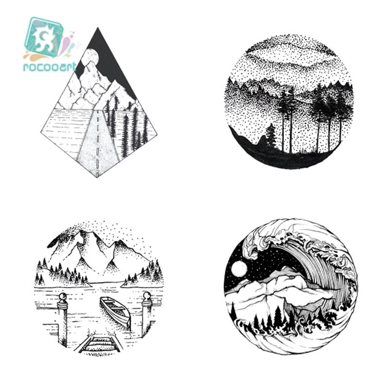Rocooart 6x6cm Black Triangle Tattoo Temporary Women Geometric Arm Art Tattoo Stickers Planet Water Transfer Tree Mountain Tatto