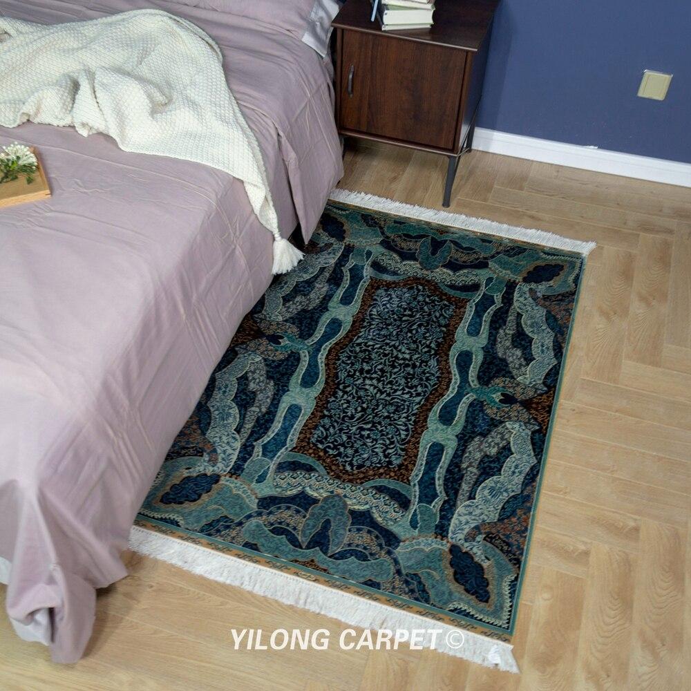 Yilong 3'x4. 5 'tapis bleu persan fait à la main tapis de soie Antique turc (QZT15A3x4.5)
