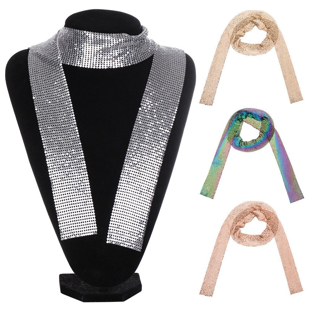2020 Punk Statement Aluminium Alloy Sequins Pendant Long Choker Necklace Pendant Neck Collar Necklaces For Women Fashion Jewelry
