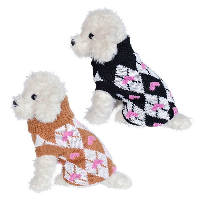 Plus Size Pet Autumn And Winter Costume Cold Weather Knitting Clothes Dog 2-legged Love Hearts Sweater