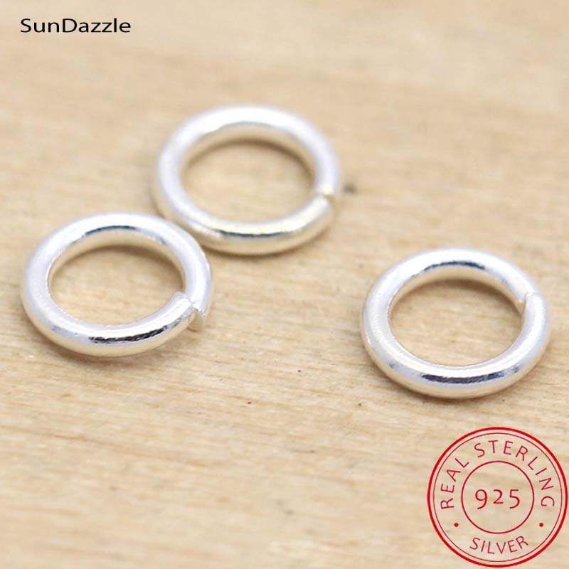 20pcs Genuine Real Pure Solid 925 Sterling Silver Open Jump Rings Split Ring Connector for Key Chains Jewelry Making Findings image