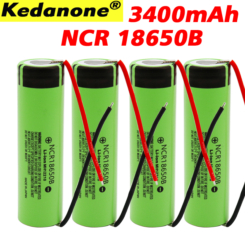 Original <font><b>18650</b></font> Battery 3.7V 3400mah <font><b>NCR18650B</b></font> Lithium Rechargeable Batteries <font><b>18650</b></font> Cells +<font><b>panasonic</b></font> <font><b>18650</b></font> DIY wire image