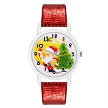 Fashion Children Quartz Watch Ladies Red Leather Strap Cute Christmas Gift Santa