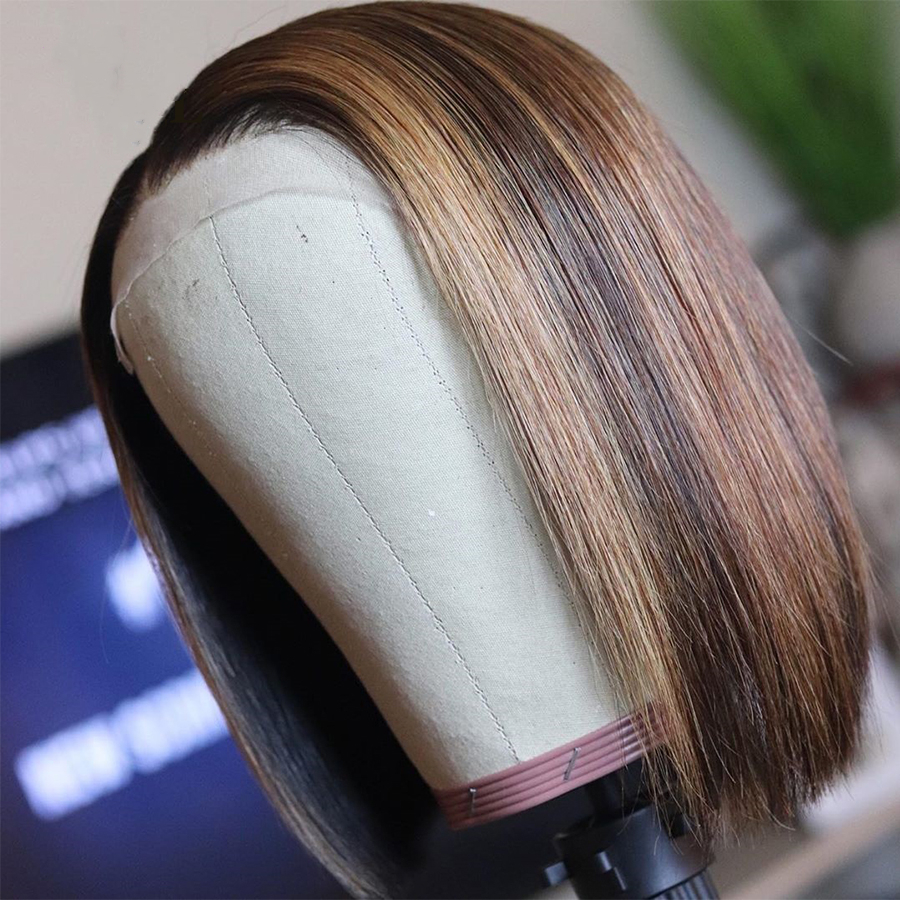Highlights Colored Human Hair Lace Front Wigs Straight Short Bob Brazilian Remy Natural Hairline Glueless Wig With Baby Hair