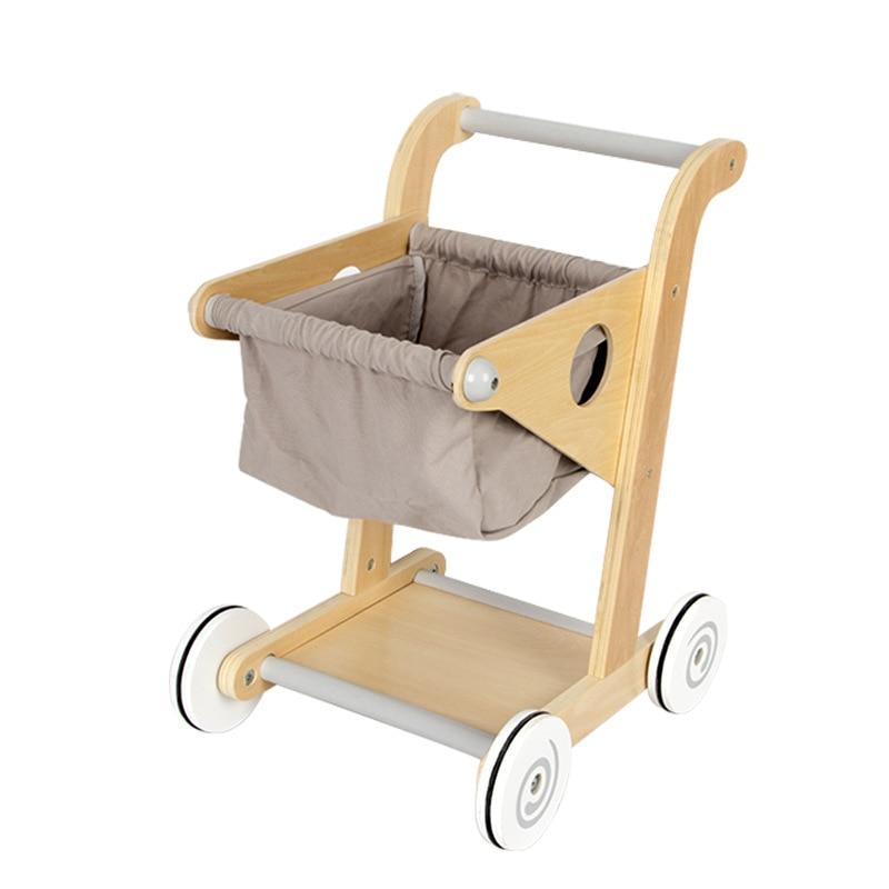 Kids Wood Shopping Cart Mini Simulation Supermarket Trolley Push Car Toddler Pretend Play Toy Children Boy Gifts