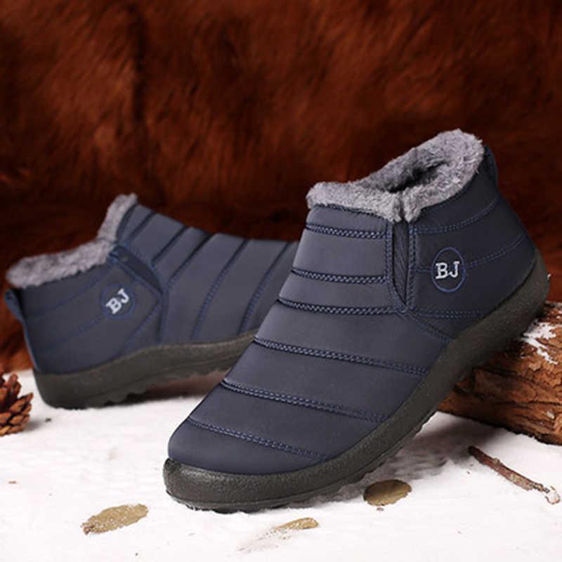 Kış ayakkabı erkek botları üzerinde kayma sıcak kürk kış Sneakers erkek kar botları su geçirmez yarım çizmeler Chaussure Homme erkek ayakkabı