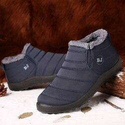 Sapatos de inverno para homens botas de inverno deslizamento em pele quente tênis de inverno homens botas de neve à prova dwaterproof água ankle boots chaussure homme mans calçado