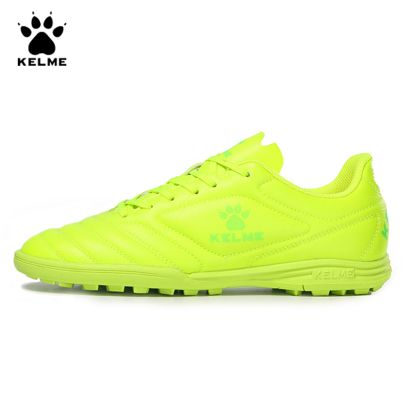 KELME Professional Futsal Football Boots Soccer Shoes Original Cleats TF Fluorescent Yellow Sneakers Men Soccer Futsals 871701