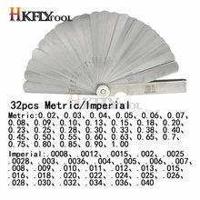 32 pièces en 1 jauge de palpeur 0.02-1.0mm jauge d'écart en acier inoxydable jauges de palpeur pliables de haute précision outil de mesure