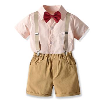 Chłopcy ubrania dla dżentelmenów garnitur lato Wedding Party urodziny ubranka chłopięce dla niemowląt z różową kokardką do krawata i koszuli + szorty 3 sztuk zestaw dla dzieci chłopiec stroje tanie i dobre opinie campure Na co dzień COTTON MICROFIBER Elastyczny pas Ścięty Pojedyncze piersi Blazers Pasuje prawda na wymiar weź swój normalny rozmiar