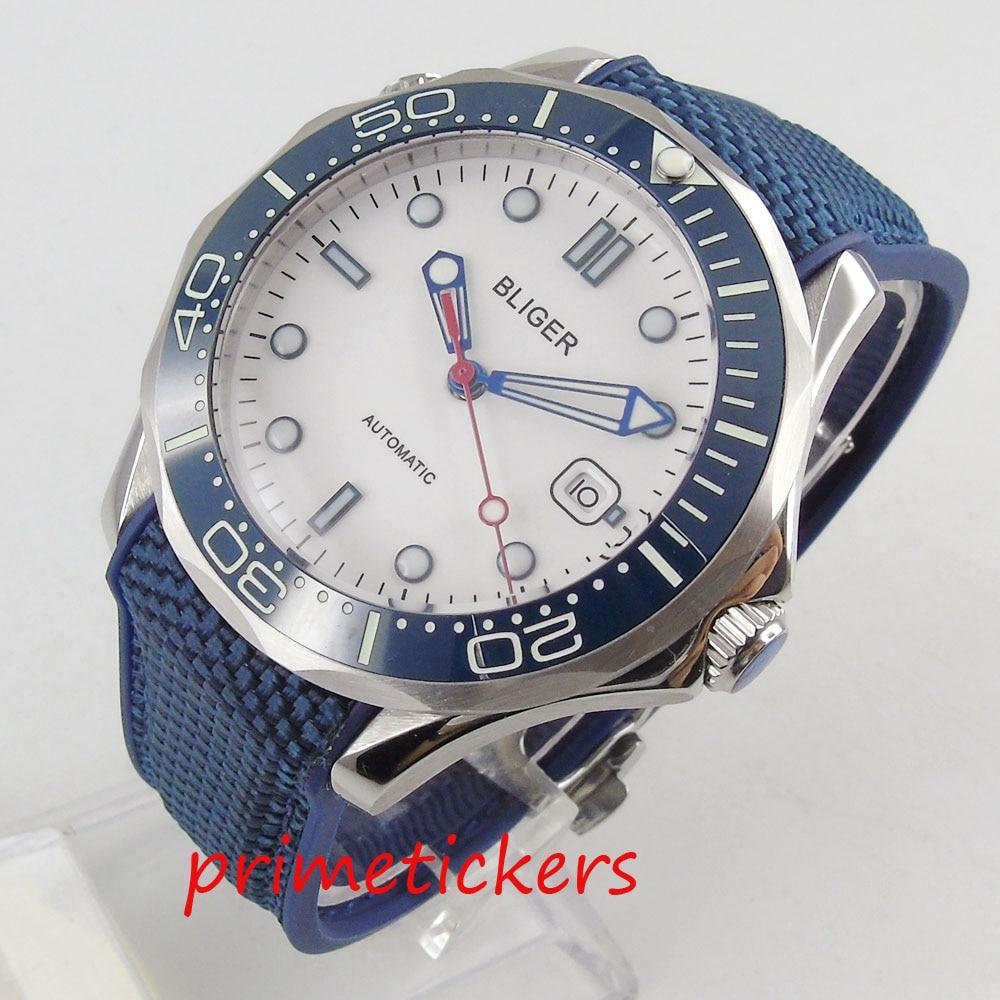 Sport fashion  white dial automatic men's watch 41mm round  date rubber strap luminous hands blue ceramic bezel