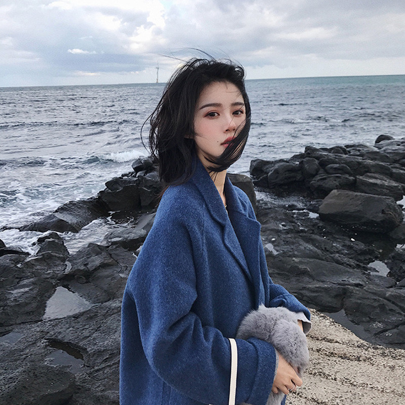 Women'S Winter Single-Breasted Woolen Coat Long Sleeve Blue Woolen Coat Women Lapel Sky Blue Korean Style Ladies Coats Outwear
