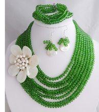 Oddech biorąc cenę nigerii kryształowe koraliki kobiety moda koraliki zestaw biżuterii ślubnej zestaw biżuterii ślubnej darmowa wysyłka tanie tanio NoEnName_Null Miedzi Klasyczny Ślub Naszyjnik kolczyki bransoletka Zestawy biżuterii