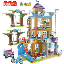 868 шт. строительные блоки для девочек, Дом дружбы, штабелируемые кирпичи, совместимые с Legoinglys, друзья для девочек, детские игрушки для детей GB08