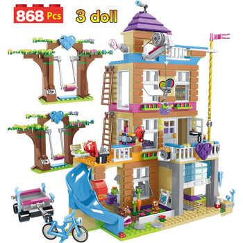 868 pçs blocos de construção meninas amizade casa empilhamento tijolos compatíveis meninas amigos crianças brinquedos para crianças gb08